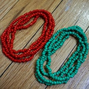 Red and Green Beaded Necklaces (Lot of two)
